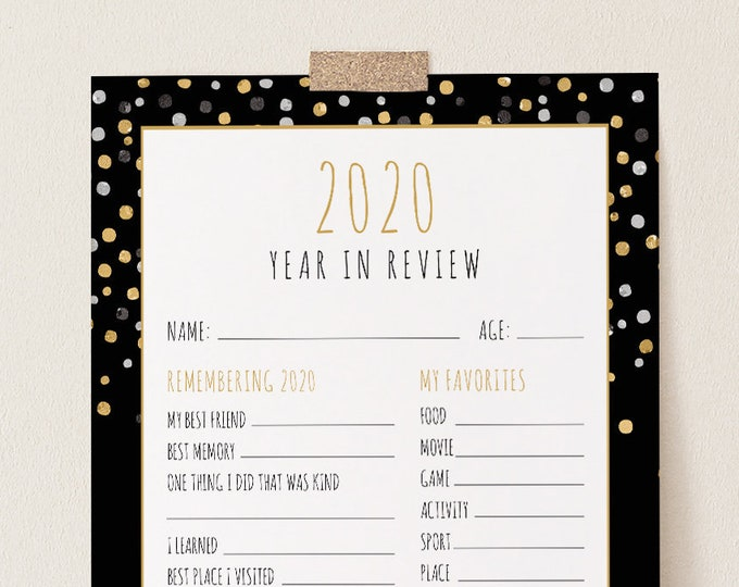2020 Kids Year In Review, New Years Eve Kids Activity, Printable Time Capsule, Editable Template, Instant Download, Templett #109NYG