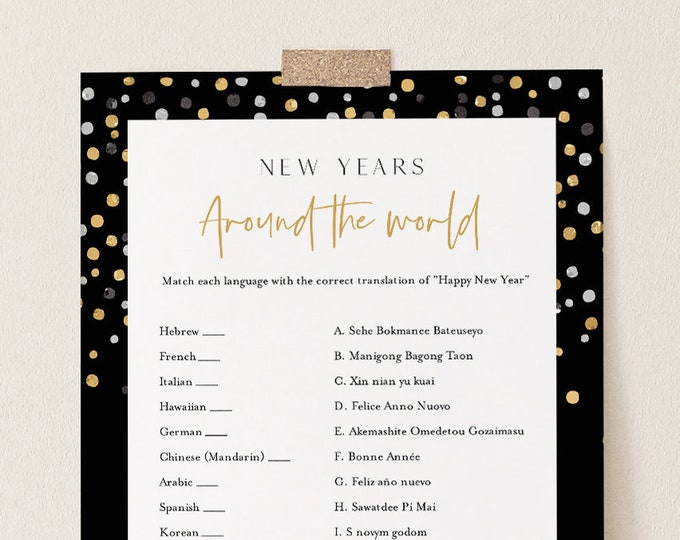 Around the World Game, Printable New Years Party, Guess the Language, 2021 Game, Editable Template, Instant Download, Templett 5x7 #101NYG