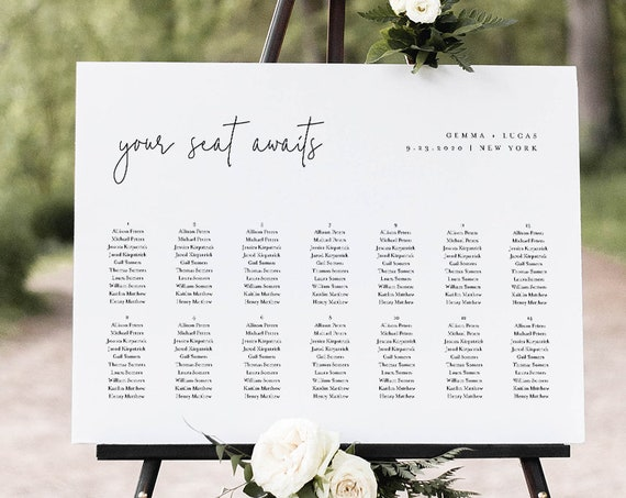 Minimalist Seating Chart Poster, Printable Modern Wedding Seating Sign, Instant Download, Editable Template, Templett, US & UK #095-262SC