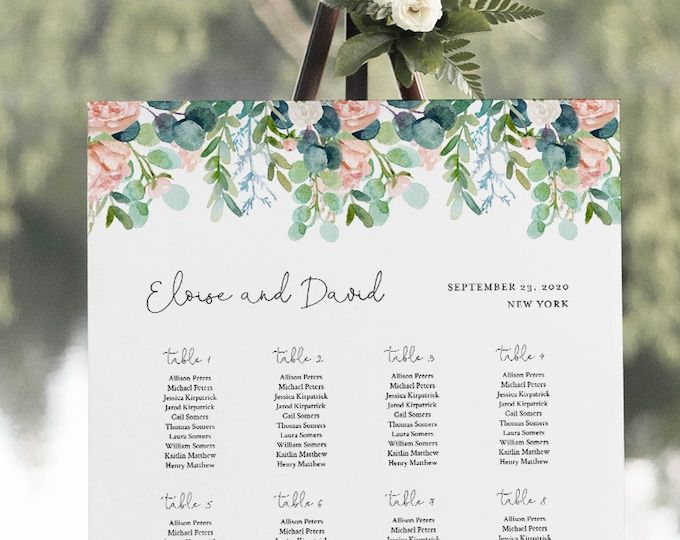 Lush Garden Seating Chart Poster, Printable Greenery Wedding Seating Sign, Instant Download, Editable Template, Templett  #068A-268SC