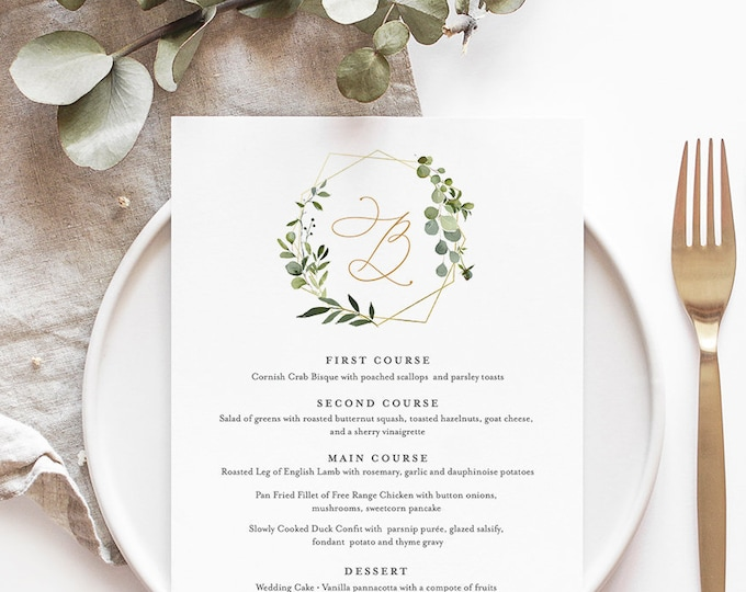 Wedding Menu Template, INSTANT DOWNLOAD, 100% Editable Text, Printable Dinner Menu Card, Wedding Greenery Monogram, Templett, DIY #056-127WM