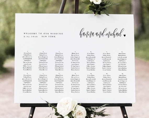 Seating Chart Template, Modern Calligraphy Wedding Seating Sign, Alphabetical & Table Order, 100% Editable, INSTANT DOWNLOAD #008-266SC