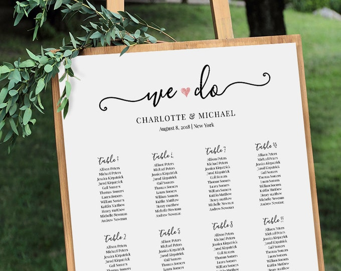 Wedding Seating Chart Sign, Printable, 100% Editable, INSTANT DOWNLOAD, Table Assignment, Escort, We Do, 18x24 & 24x36 #030-213SC