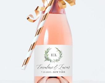 Mini Champagne Bottle Template, Wine Label, Wedding / Bridal Shower Favor Sticker, Instant Download, 100% Editable, Monogram, DIY #016-101ML