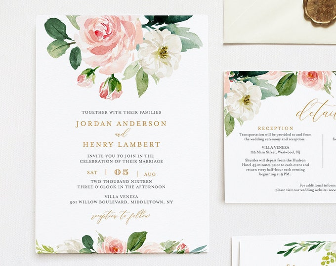 Editable Wedding Invitation Template, Printable Invite, RSVP, Details, Blush Boho Florals, Greenery and Gold, INSTANT DOWNLOAD, DiY #043D