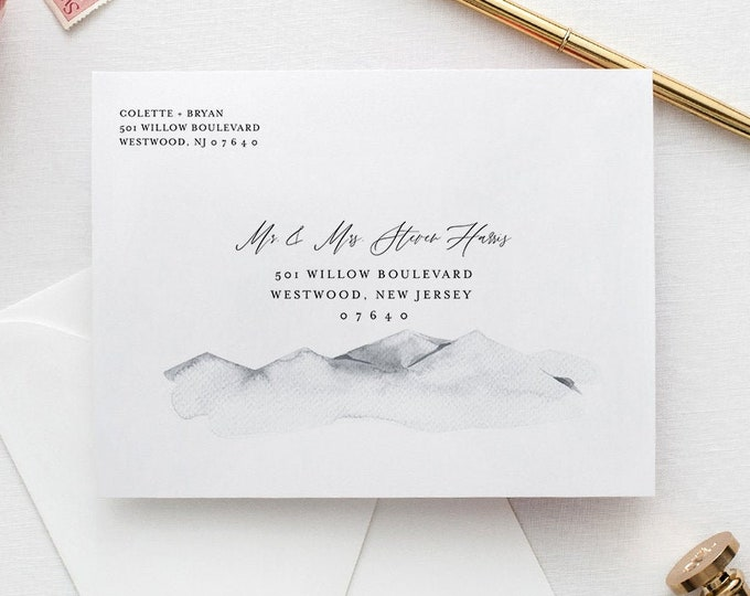 Mountain Envelope Template, Rustic Watercolor Wedding Address Printable, Instant Download, Editable Text, Templett, A1, A7 Sizes #004-122EN