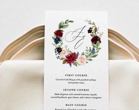 Boho Menu Template, Merlot Floral Wedding Menu Card, Printable DIY Dinner Menu, INSTANT DOWNLOAD, Editable Text, 5x7 & 3.65x9 #062-130WM