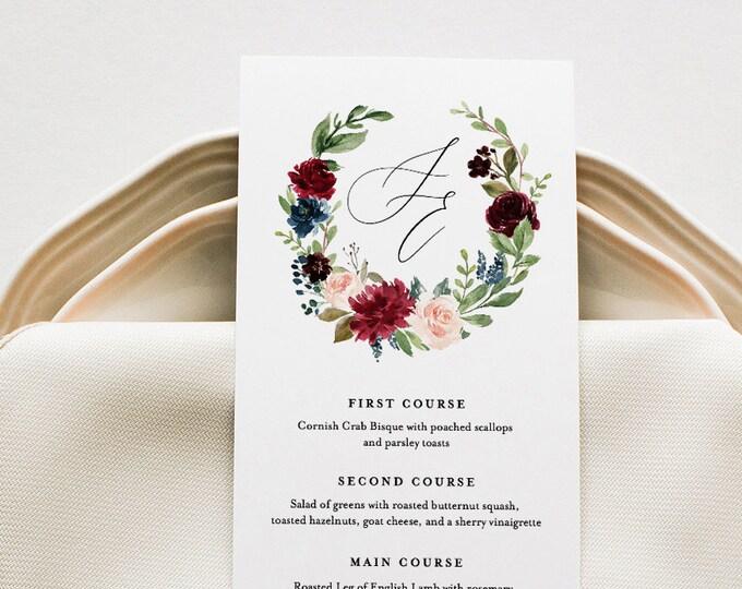 Boho Menu Template, Merlot Floral Wedding Menu Card, Printable DIY Dinner Menu, INSTANT DOWNLOAD, Editable Text, 5x7 & 3.5x8.5 #062-130WM
