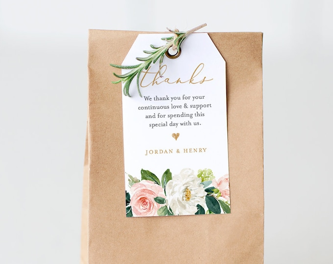 Wedding Favor Tag, Thank You Tag, Bridal Shower Favor, Welcome Bag Label, INSTANT DOWNLOAD, 100% Editable Text, Printable, DIY #043-105TG
