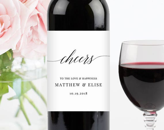 "Wine Bottle Label Printable, DIY Wedding Wine Label, 100% Editable Template, DIY Custom Wine Labels, Instant Download, ""Cheers"" #034-101WL"