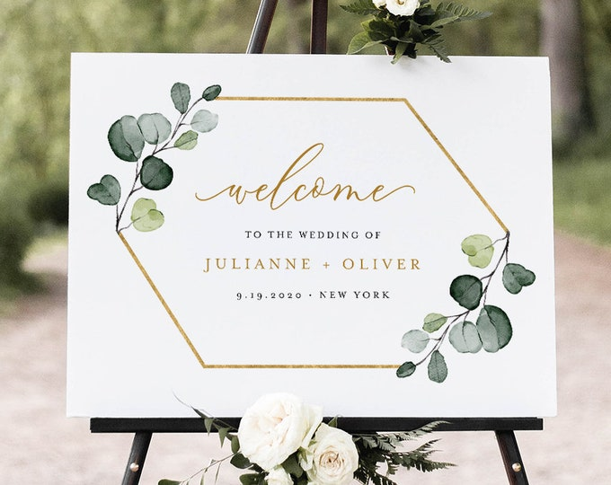Greenery Welcome Sign Template, Printable Wedding or Bridal Shower Sign, Instant Download, Editable, Elegant Modern, Templett #007-194LS