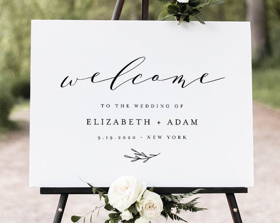 Minimalist Welcome Sign, Printable Classic Modern Wedding or Bridal Shower Poster, Instant Download, Editable Template, Templett #037-190LS