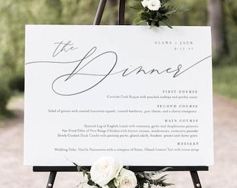 Minimalist Dinner Menu Sign, Printable Wedding Menu Poster, 100% Editable Template, Instant Download, Templett, 8x10, 18x24 #0006-196WM