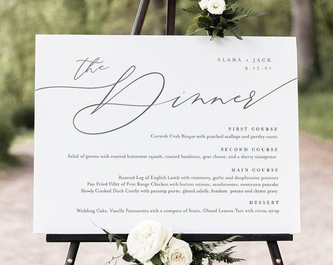 Minimalist Dinner Menu Sign, Printable Wedding Menu Poster, 100% Editable Template, Instant Download, Templett, 8x10, 18x24 #0006-196WM