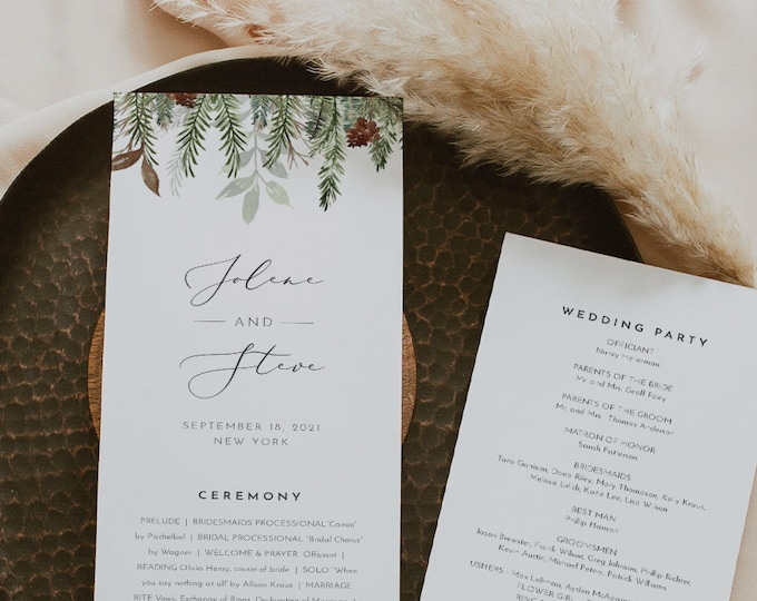 Winter Pine Wedding Program Template, Printable Evergreen Order of Service, Instant Download, 100% Editable Text, Templett #0017-259WP