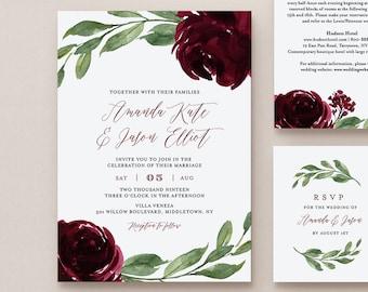 Burgundy Floral Wedding Invitation Suite, 100% Editable Template, Printable Invite, RSVP, Details, Boho Greenery, INSTANT DOWNLOAD #067B