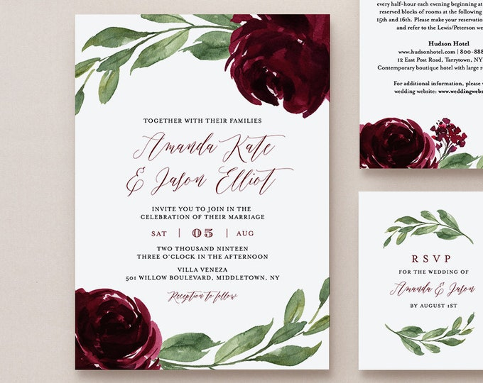 Burgundy Floral Wedding Invitation Suite, 100% Editable Template, Printable Invite, RSVP, Details, Boho Greenery, INSTANT DOWNLOAD #067B