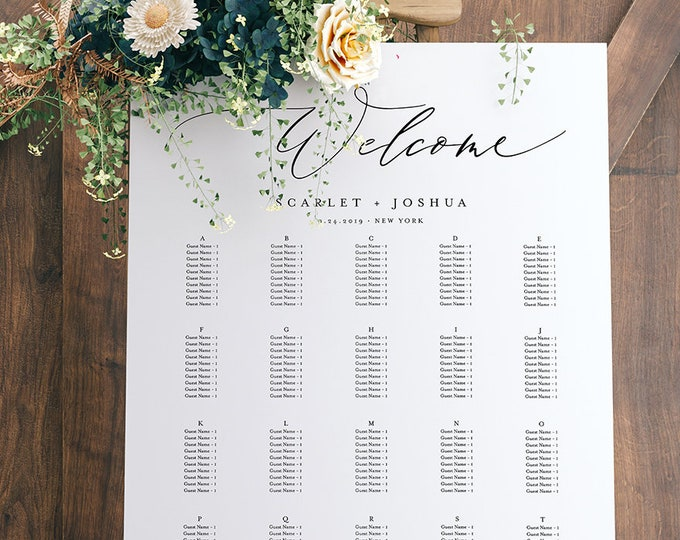 Alphabetical Seating Chart Template, Wedding Seating Poster, Seating Assignment Sign, 100% Editable, INSTANT DOWNLOAD, Printable #052-228SC