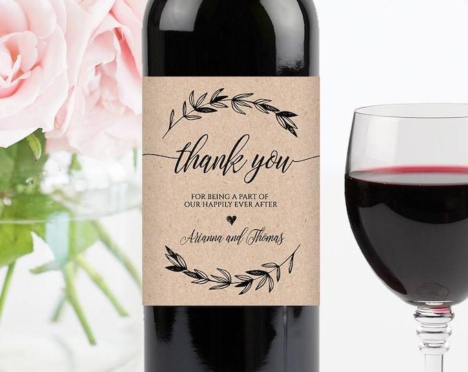 Wedding Wine Bottle Label, Printable Wine Label Template, 100% Editable, Wine Wedding Favor, Custom Label, Instant Download, DIY #023-102WL