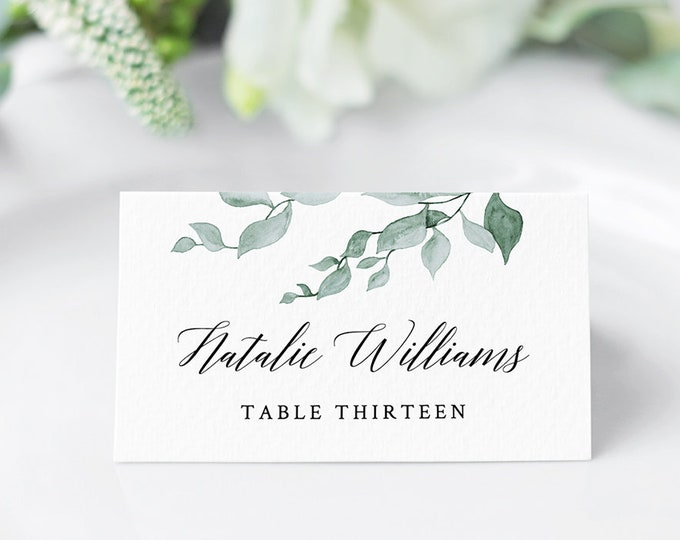 Printable Wedding Place Card, Escort Card Template, Name Card, Watercolor Greenery Seating Card, Instant Download, Fully Editable #019-105PC