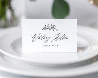 Self-Editing Place Card Template, INSTANT DOWNLOAD, 100% Editable, Printable Wedding Escort Card, Name Card, Seating Card, DIY #052-118PC