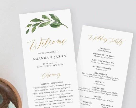 Wedding Program Template, Flat Greenery Order of Service, Printable Ceremony, Instant Download, 100% Editable Text, Templett, DIY #067-217WP