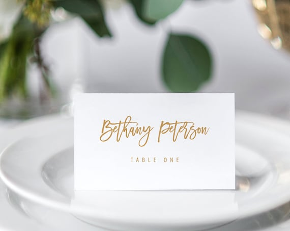 Printable Place Card Template, Self-Editing Wedding Escort Card, INSTANT DOWNLOAD, 100% Editable,  Name Card, Seating Card, DIY #050-119PC
