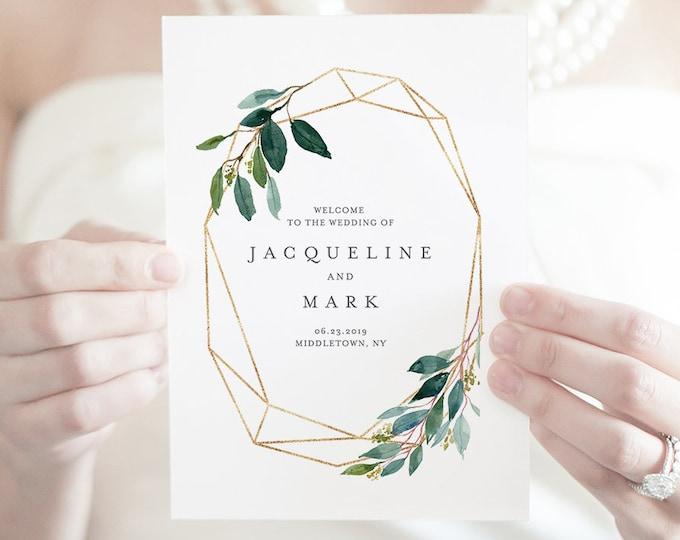 Folded Wedding Program Template, INSTANT DOWNLOAD, Order of Service, 100% Editable Text, Self-Editing, Boho Greenery Wedding  #044-123WP