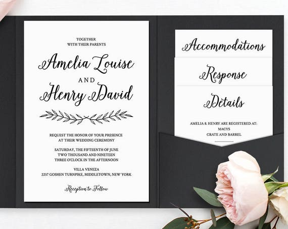 Wedding Invitation Set, Pocket Fold, Printable Calligraphy Invite & Enclosure Cards, Instant Download, 100% Editable Template, Templett #012