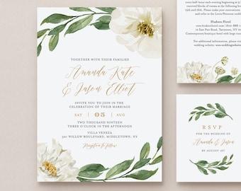 Boho Greenery Wedding Invitation Suite, 100% Editable Template, Printable Invite, RSVP, Details, Cream Florals, INSTANT DOWNLOAD, DiY #067A