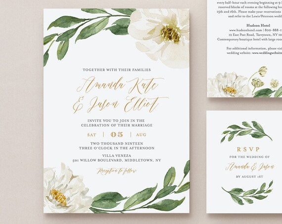 Boho Greenery Wedding Invitation Suite, 100% Editable Template, Printable Invite, RSVP, Details, Cream Florals, INSTANT DOWNLOAD, DiY #067A