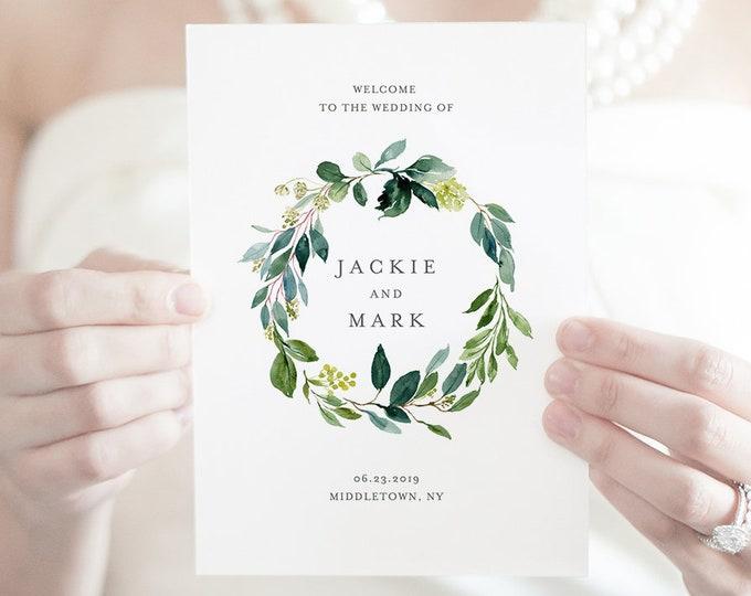 Greenery Wedding Program Template, Folded Booklet, INSTANT DOWNLOAD, Order of Service, 100% Editable, DIY Boho Wedding, Templett  #044-119WP