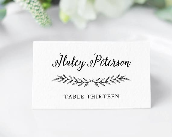 DIY Wedding Place Card Template, Printable Escort Card, Name Card, Seating Card, Rustic Laurels, Instant Download, Fully Editable #012-103PC