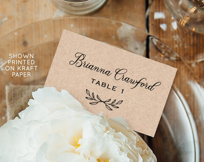 Place Card Printable, Rustic Wedding Escort Card Template, Name Card, Table Number, Instant Download, 100% Editable Template #027-109PC