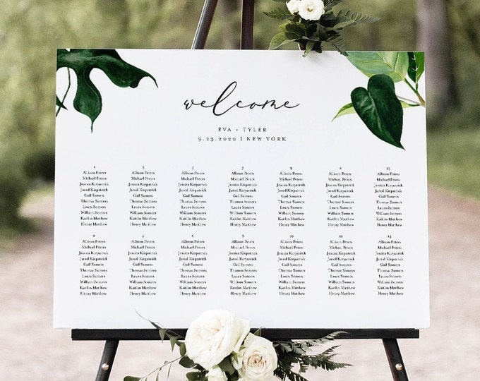 Tropical Wedding Seating Chart Template, Printable Modern Seating Sign Poster, 100% Editable Text, Instant Download, Templett #0012-270SC
