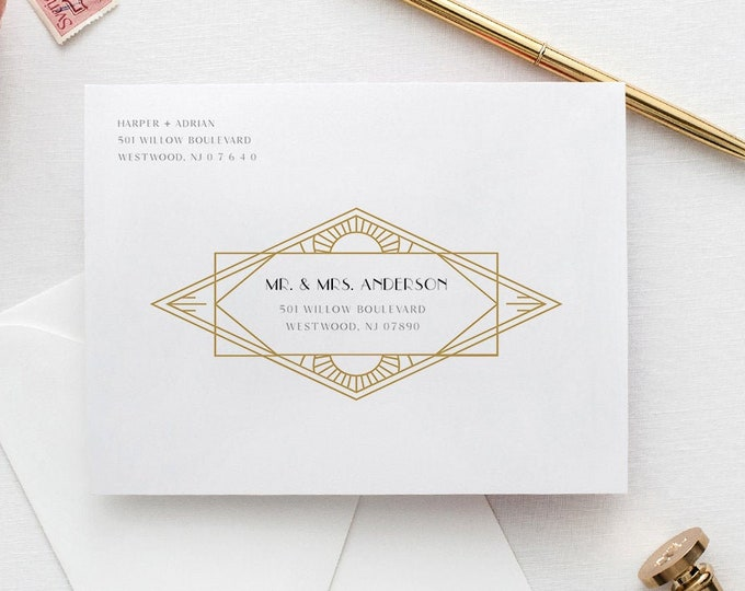 Art Deco Wedding Envelope Template, Minimal Retro Address Printable, Instant Download, 100% Editable Template, A7, A6 & A1 #0021-156EN