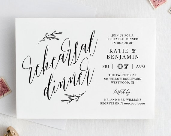 Rehearsal Dinner Invitation Printable, INSTANT DOWNLOAD, 100% Editable Template, Modern Calligraphy, Rustic Kraft Paper, Templett #038-120RD