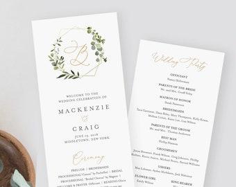 Printable Wedding Program Template, Instant Download, Order of Service, 100% Editable Text, Greenery Wreath, Monogram, Templett #056-214WP