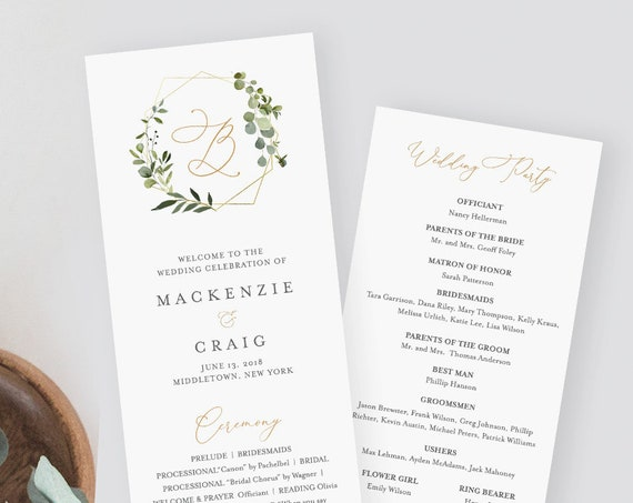 Printable Wedding Program Template, Instant Download, Order of Service, 100% Editable Text, Greenery Wreath, Monogram, Templett #056-214WP