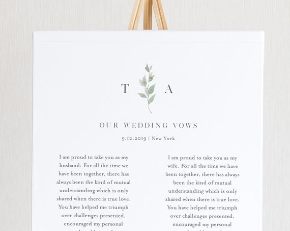 Wedding Vow Keepsake Wall Art, Minimalist Greenery 1st Year Anniversary Gift, Editable Template, INSTANT DOWNLOAD, Templett #0004B-205LS