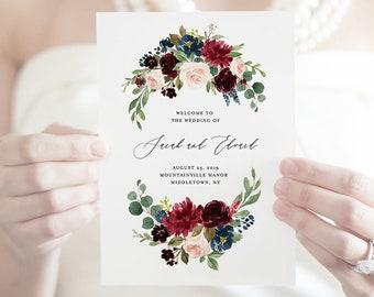 Bi-Fold Wedding Program Template, Order of Service, Boho Floral Wedding Program, INSTANT DOWNLOAD, Editable, Catholic Ceremony #062-126WP