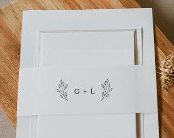Monogram Belly Band Printable, DIY Minimalist Simple Wedding Invitation Wrap, 100% Editable Template, Instant Download, Templett #095B-113BB
