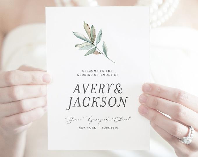 Wedding Program Template, Folded Booklet, INSTANT DOWNLOAD, Order of Service, 100% Editable, Succulent Greenery, Boho Wedding  #048-121WP