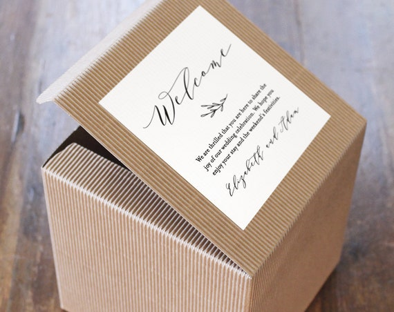 Welcome Box Sticker Template, Printable Welcome Bag Tag, Favor Box Label, Wedding Favor Tag, INSTANT DOWNLOAD, 100% Editable DIY #037-101FL