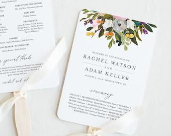 Fan or Flat Wedding Program Template, INSTANT DOWNLOAD, Printable Order of Service, 100% Editable Text, DIY, Boho Florals, #054-410WP