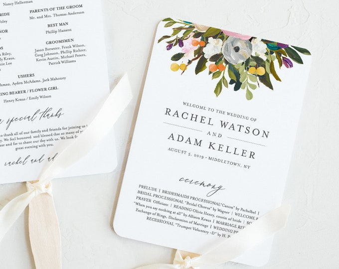 Fan or Flat Wedding Program Template, INSTANT DOWNLOAD, Printable Order of Service, 100% Editable Text, DIY, Boho Florals, #054-410WP
