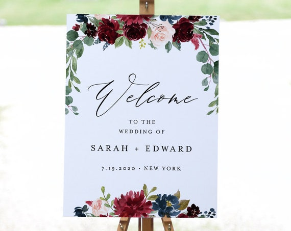 Merlot Floral Welcome Sign Template, Bridal Shower, Instant Download, 100% Editable Text, Printable Wedding Poster Sign, Templett #062-178LS