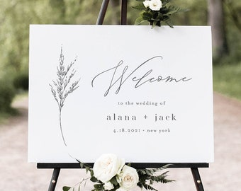 Welcome Sign, Minimalist Wedding Poster, Wildflower, Lavender, 100% Editable Template, Instant Download, Printable, Templett #0006C-211LS