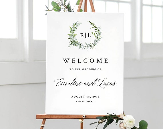 Wedding Welcome Sign Printable, Greenery Watercolor Wreath, Monogram, 100% Editable Template, INSTANT DOWNLOAD, 18x24 & 24x36 #016-112LS
