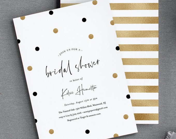 Bridal Shower Invitation Template, Black and Gold Polka Dots, Editable Couples Shower Invite, Printable Wedding, INSTANT DOWNLOAD #066-165BS